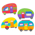 Renewing Minds, Trailers Large Cutouts, Multi-Colored, 6 Inches, 4 Designs, 36 Pieces
