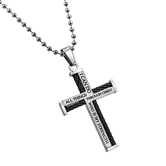 Spirit & Truth, Philippians 4:13 Christ My Strength Cable Cross Necklace, Stainless Steel, 24 inches