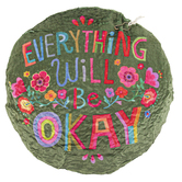 Natural Life, Everything Will Be Okay Reusable Heating Pad, Polyester, Wheat, Chamomile, 8 inches