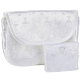 Roman, Inc., First Communion Purse and Rosary Pouch Set, White Damask, 2 Pieces