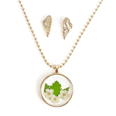 Faith in Bloom, Round Floral Pendant Necklace with Angel Wing Earrings Set, Brass, Gold, 20 Inch Chain