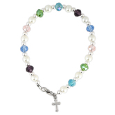 Collectables America, Pastel Beaded Bracelet with Cross, Glass Beads, 6 1/2 inches