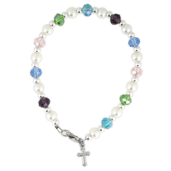 Collectables America Pastel Beaded Bracelet With Cross Glass Beads 6 1 2 Inches Mardel 3845773