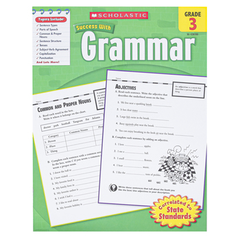 Scholastic, Success with Grammar Workbook, Reproducible Paperback, 64 Pages, Grade 3