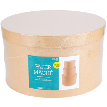 Paper Mache Round Box, Set of 3 with Removable Lids, Large 9.50, 10.50, and 13 x 7.50-Inches