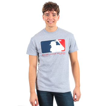 SonTeez, Matthew 16:24, Major League Believer, Short Sleeved T-Shirt, Heather Gray, S-2XL