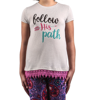 Southern Grace, Follow His Path, Kid's Short Sleeve T-shirt, Light Gray and Pink Lace Trim, Ages 2-12