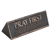 Lighthouse Christian, Philippians 4:6 Pray First Desktop Plaque, Copper, 6 1/2 x 2 x 2 1/4 Inches