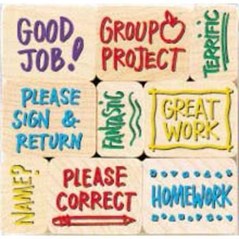 Hero Arts, Notes From the Teacher Rubber Woodblock Stamps, Set of 9, Grades PreK-8
