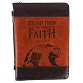 Christian Art Gifts, 1 Corinthians 16:13 Bear Bible Cover, Imitation Leather, Brown & Tan