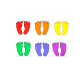 Renewing Minds, Feet Large Cutouts, Assorted Colors, 6 inches, 36 Pieces