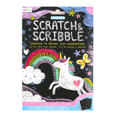 Ooly, Scratch & Scribble Mini Art Kit, Funtastic Friends, 4 x 6 Inches, 14 Pieces