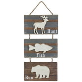 Hunt Fish Run Hanging Wall Decor, Wood, Brown and Gray, 21 1/4 x 11 x 5/8 inches