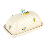 Home Essentials, Honey Bee Butter Dish, Ceramic, White & Yellow, 7 1/2 x 4 x 4 inches