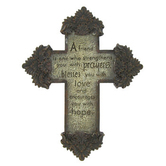 Friends Wall Cross, Stone Gray Resin, 8 1/2 x 6 inches