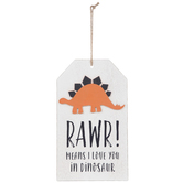 Rawr Means I Love You Dinosaur Hanging Wall Decor, Wood, White, 13 1/2 x 8 x 7/16 inches