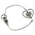 Bella Grace, Love Heart Metal Cord Bracelet, Zinc Alloy, Silver-tone
