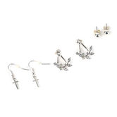 Faithful and Fabulous, Floral Ear Jacket and Cross Earring Set, Zinc Alloy and Glass, Silver, 3 Pairs