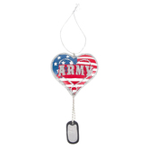 Ganz, Military Service Heart with Dog Tag Ornament, Resin, Red, White, & Blue, 3 x 5 1/2 inches