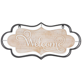 Welcome Sign Wall Decor, Metal and MDF, Black and Whitewash, 10 7/8 x 23 5/8 x 2 inches