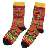 Kerusso, Stick With Jesus, Unisex Crew Socks, Yellow/Orange Stripes, 1 Pair, One Size Fits Most
