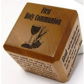 H.J. Sherman, First Communion Scripture Cube, Wood, Mahogany, 2 1/2 inches