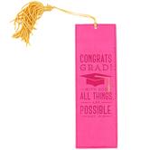 Christian Art Gifts, Matthew 19:26 Congrats Grad Tassel Bookmark, Pink, 2 1/8 x 6 1/2 inches