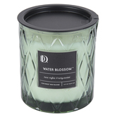 Darsee & Davids, Water Blossom Diamond Patterned Jar Candle, Mint Green, 10.6 ounces
