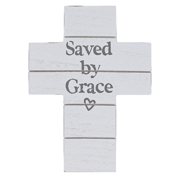Saved By Grace Wood Wall Cross, Whitewashed, 7 13/16 x 5 13/16 x 1 inches