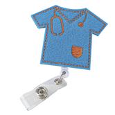 Nurseology, Scrub Top Badge Reel Holder, Blue Felt with Gold Details, 2.75 x 1.50 inches