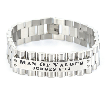 Spirit & Truth, Judges 6:12, Man Of Valour, Men's Link Band Bracelet, Stainless Steel, Silver, 3/4 x 9 Inches