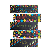 Chalk Talk Collection, Monthly Calendar Headers Set, 5 x 16 Inches, Multi-Colored, 12 Pieces
