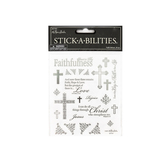 the Paper Studio, Faith Vellum Stickers, Silver Foil, 50 pieces