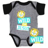 New Ewe, Wild For Jesus, Baby Short Sleeve Onesie, Granite Heather/Black, Newborn-12 Months