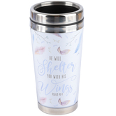 Christian Art Gifts, Psalm 91:4, He Will Shelter You Travel Mug, Poylmer & Stainless Steel, 16 ounces