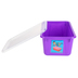 Storex, Small Cubby Bin With Clear Lid, Purple, 12.28 x 7.95 x 5.22 Inches, 2 Pieces