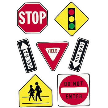 Eureka, Traffic Symbols Two-Sided Hanging Decorations, 14 Pieces
