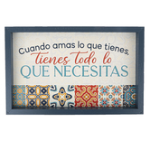 P. Graham Dunn, Love What You Have, Have Everything You Need Spanish Framed Wall Decor, Wood, 17 3/4 x 11 1/4 x 2 inches