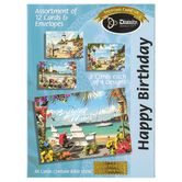 Divinity Boutique, Coastal Chairs Boxed Birthday Cards, 12 Cards with Envelopes
