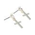Loved By Design, Rose/Cross Dangle Earrings, Sterling Silver