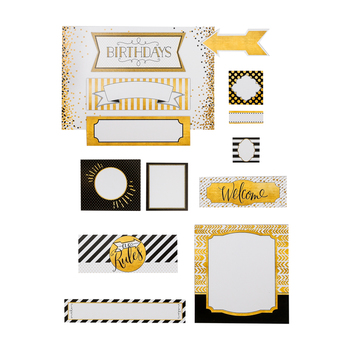Glimmer of Gold Collection, Class Labels Bulletin Board Set, 15 Pieces