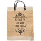 Christian Brands, Fills My Life Shopping Tote, Jute, Natural, 13 x 18 x 7 Inches