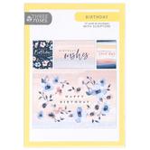 ThreeRoses, Navy & Blush Feminine Birthday Boxed Cards, 12 Count