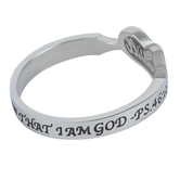 Spirit & Truth, Psalm 46:10, Be Still Handwriting Heart, Women's Ring, Stainless Steel, Sizes 5-9