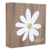 Smile Daisy Wood Block Decor, Brown, White, and Yellow, 4 x 4 x 1 inches