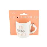 Pavilion Gift, Love You Daughter Mini Mug, Bone China, Pink and Silver Metallic, 5 ounces
