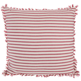 Red and Cream Ticking Striped Square Pillow, Polyester and Cotton, 18 x 18 x 7 Inches