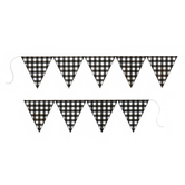 Brother Sister Design Studio, Buffalo Check Pennant Banner, Black & White, 86 1/2 inches