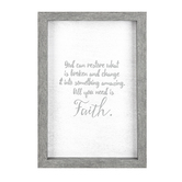 All You Need is Faith Framed Wall Sign, MDF Wood, White and Gray, 24 x 16 inches