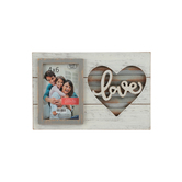 Green Tree Gallery, Wood and Tin Love Photo Frame, for 4 x 6 inch Photo, 11 5/8 x 7 3/4 inches